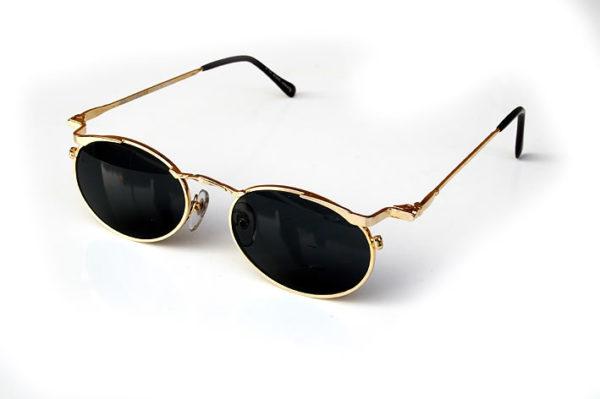 oval gold metal sunglasses polarised lenses Hi Tek