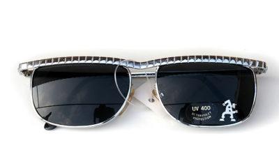 Vintage square oblong silver metal sunglasses aviator style HT-AVI4-SLV