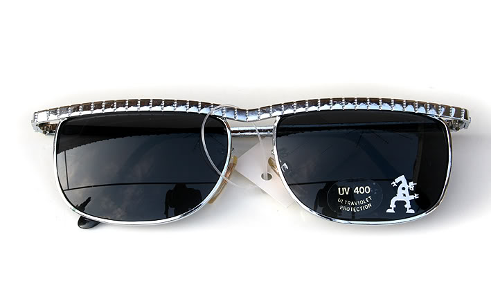 Vintage square oblong silver metal sunglasses aviator style HT-AVI4-SLV
