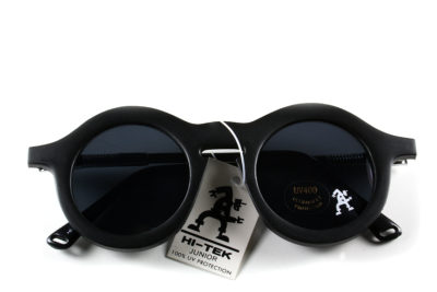 Black round sunglasses, plastic and metal frames, vintage Hi Tek HT-008