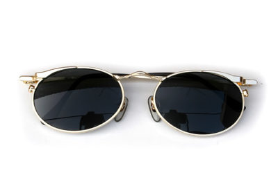 oval gold metal sunglasses polarised lenses Hi Tek