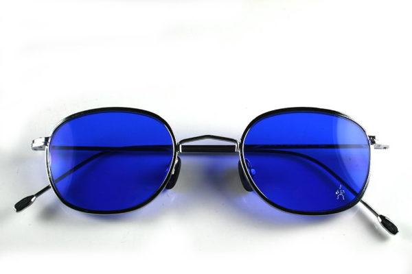 Hi Tek round silver metal sunglasses indigo blue lens