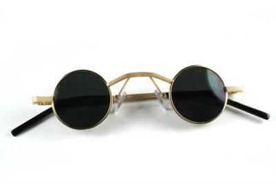 round gold metal sunglasses retro Victorian Goth Steampunk polarized lens Hi Tek Alexander