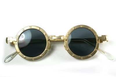 round metal sunglasses silver gold unusual bridge Hi Tek Alexander