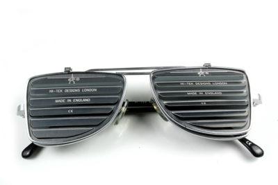 Hi Tek oblong metal lens flip up sunglasses steampunk blinders louver