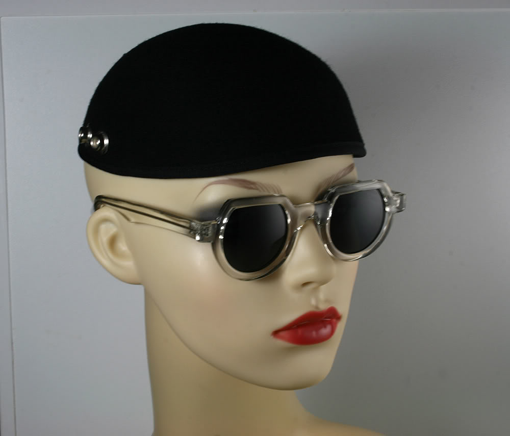 Hi Tek round sunglasses clear plastic frame with black lenses HT-010