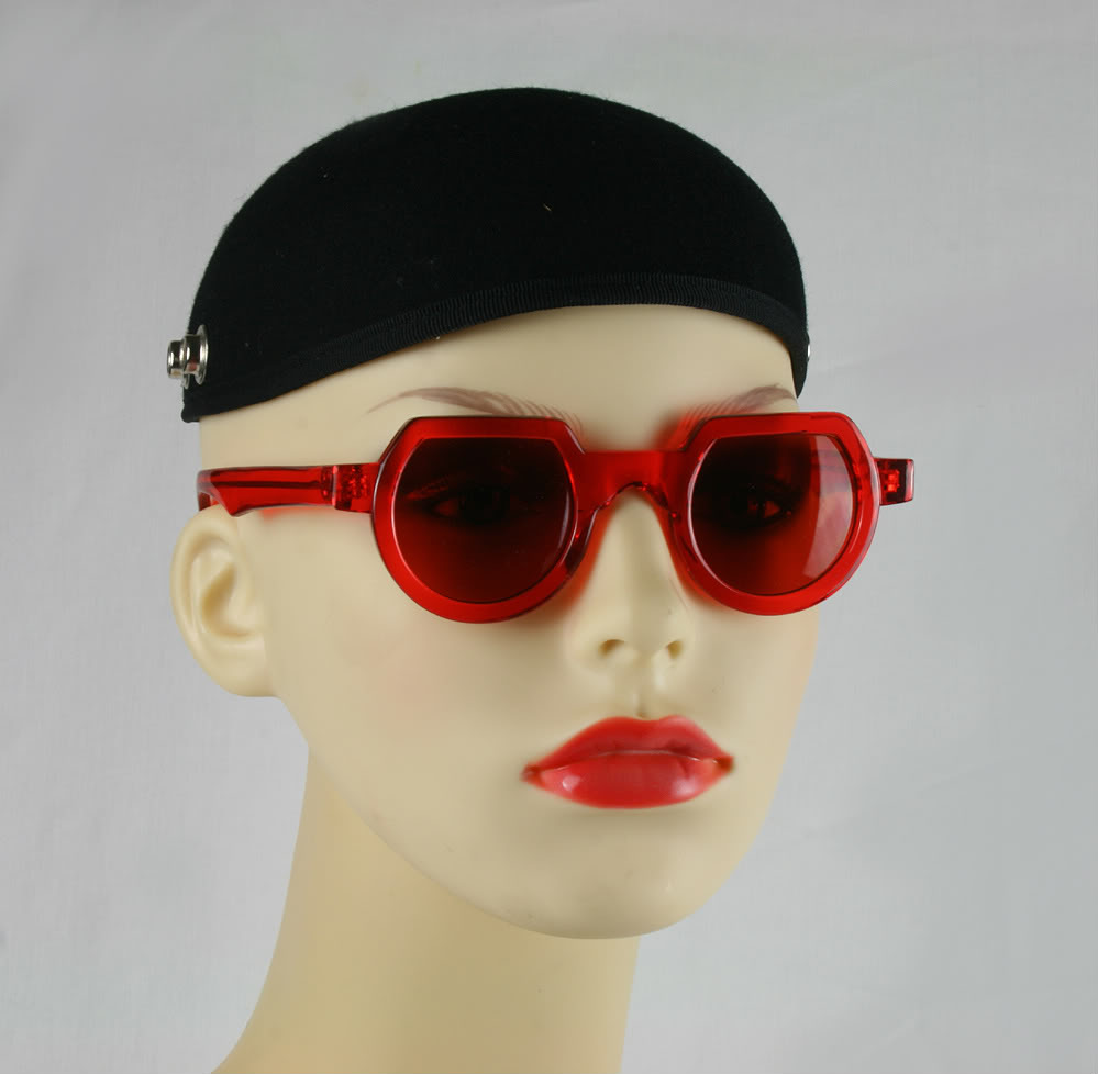 Hi Tek round sunglasses red plastic frame red lenses HT-010