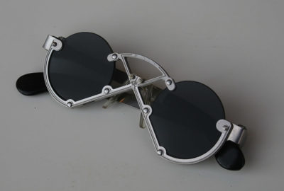 Hi Tek round silver metal sunglasses cult-11 handmade unusual
