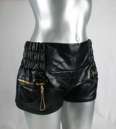 womens black vinyl & leather shorts hot pants high waist size S
