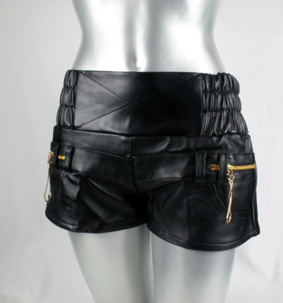 womens black vinyl & leather shorts hot pants high waist size S