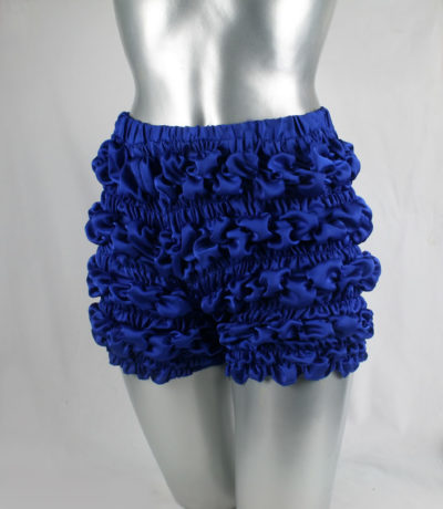 blue ruffle satin pants knickers modern Victorian bloomers Burlesque HI TEK