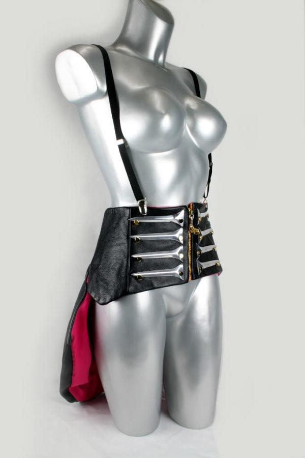 black leather modern Victorian corset with bustle Steampunk Burlesque Hi Tek all sizes