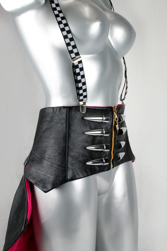 black leather corset with bustle modern Victorian Steampunk Burlesque Hi Tek all sizes