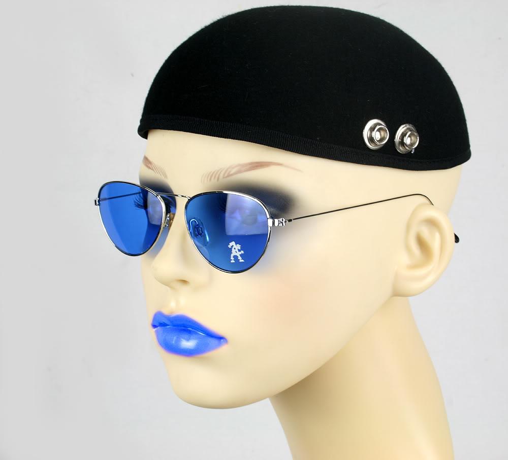Hi Tek  round silver metal aviator sunglasses blue lens