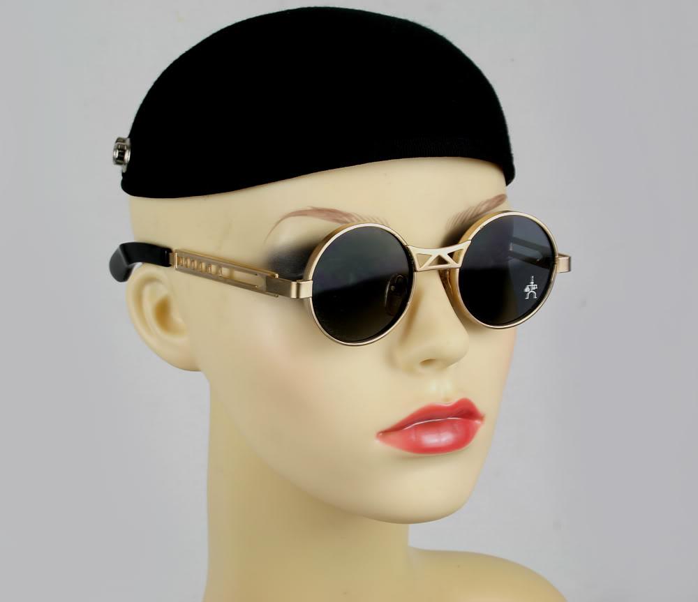 Hi Tek vintage round metal sunglasses gold HT-4006