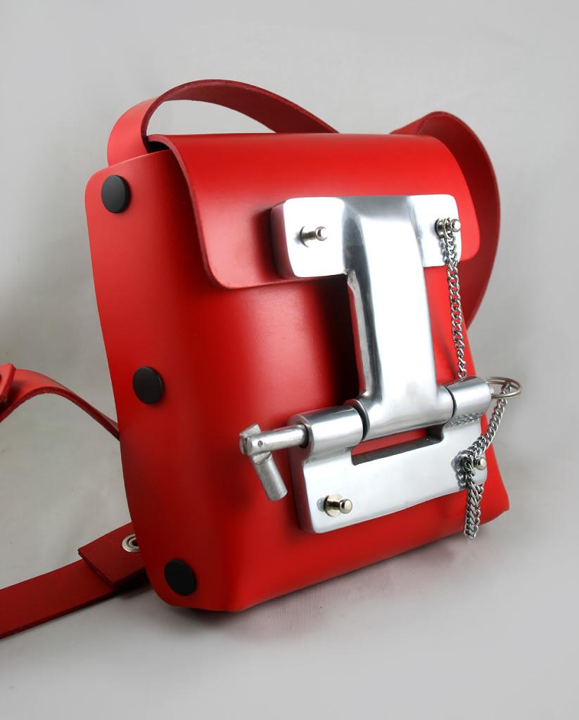 Hi Tek red leather cross body bag small unisex unusual unique