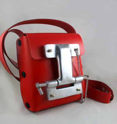 Hi Tek red leather cross body bag small unisex unusual unique