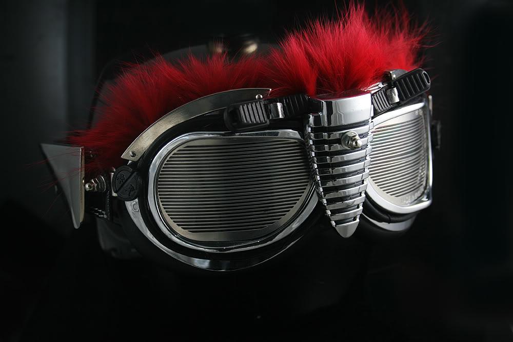 unusual handmade retro futuristic motorcycle aviator Steampunk Goggles Hi Tek