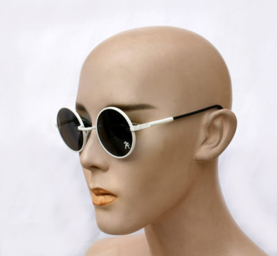 round sunglasses, white round sunglasses with black lenses, vintage sunglasses, unisex, unusual, op art Hi Tek HJL9