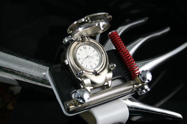 Unisex retro futuristic Steampunk black and white watch cuff Hi Tek HTSTW063 unusual unique