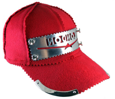 red wool baseball cap HI TEK unusual unique hip hop rapper