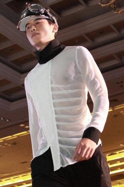 mens white silk dress shirt with black collar and cuff asymmetric unusual Hi Tek