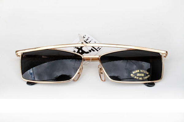 rectangular metal sunglasses for men aviator style silver gold Hi Tek