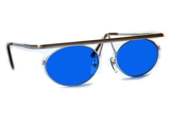 round oval silver metal sunglasses Hi Tek unusual unique
