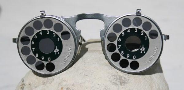 unisex round metal flip up sunglasses Hi Tek model HT-006-TELEPHONE