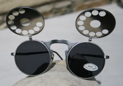 unisex round metal flip up sunglasses Hi Tek model HT-006-TELEPHONE