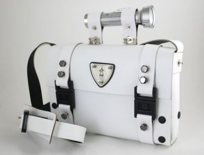 white leather shoulder bag satchel Hi Tek Alexander unusual unique
