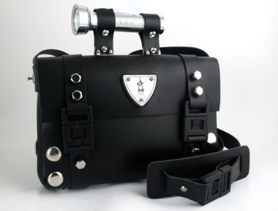 Hi Tek Alexander unisex black leather shoulder bag satchel unusual unique