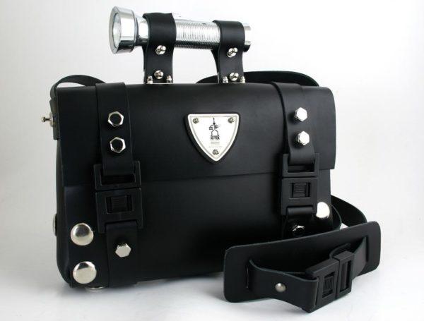Hi Tek Alexander unisex black leather shoulder bag satchel unusual unique