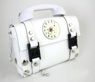 white leather shoulder bag for women with telephone handle unusual unique