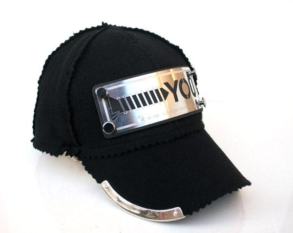 black wool and cashmere baseball cap HI TEK unusual unique