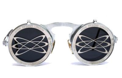 Round flip up sunglasses vintage Goth Steampunk style Atom