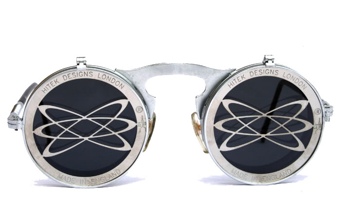 Hi Tek unisex round metal flip up sunglasses model HT-006-ATOM