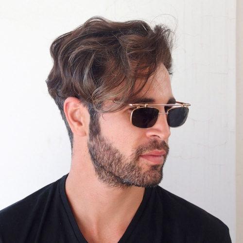 gold rectangle sunglasses for men