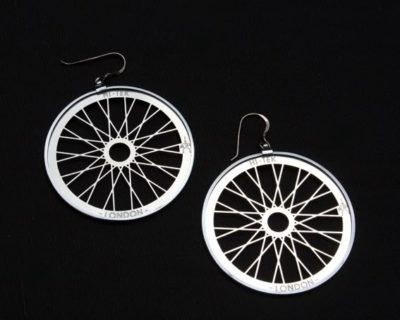 round metal hoop earrings, bicycle wheel theme Hi Tek