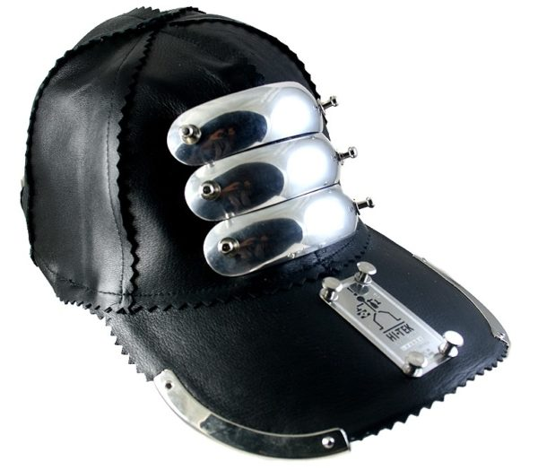 black leather baseball cap with metal stripes, rock, punk style