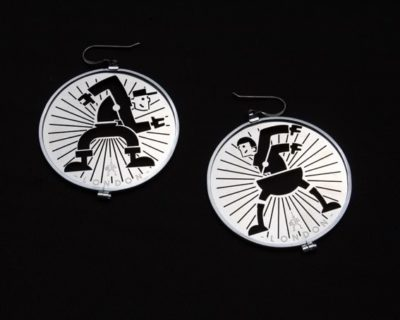 steampunk jewelry silver metal round hoop earrings HI TEK