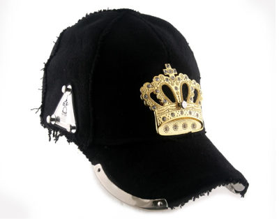 baseball cap with gold metal crown in black wool  unusual unique hip hop rapper