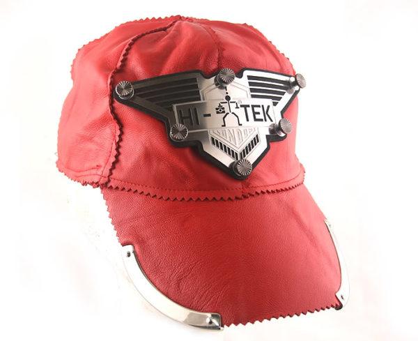 red leather baseball cap HI TEK unusual unique