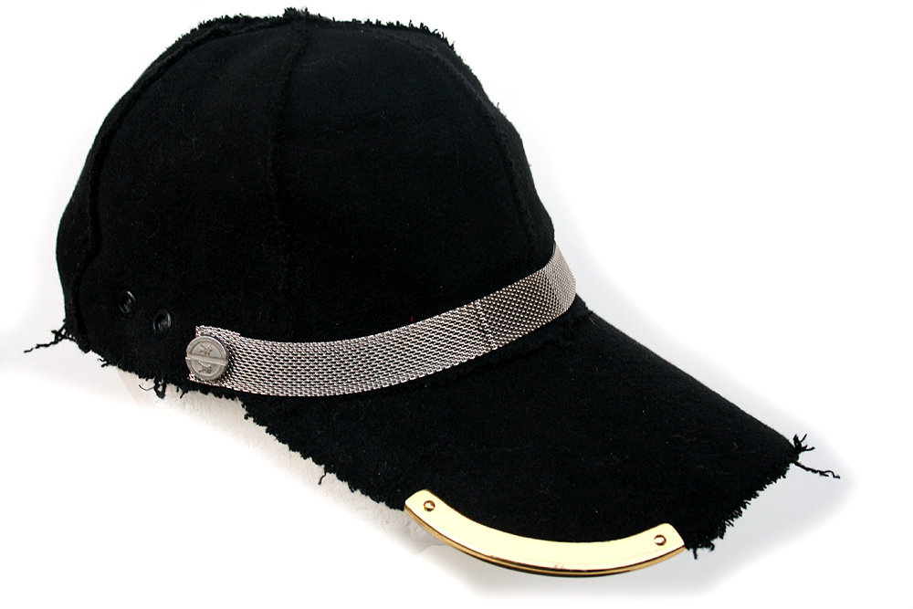 black wool baseball cap hi tek unusual unique hi tek