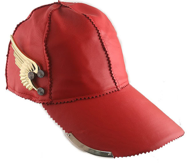 red leather baseball cap HI TEK with gold metal wing