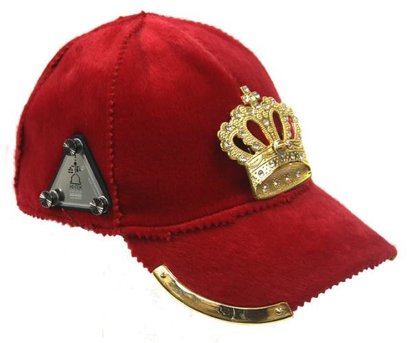 red wool baseball cap with gold crown HI TEK