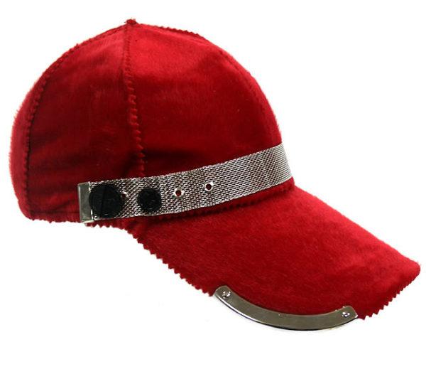 red wool baseball cap HI TEK unusual unique