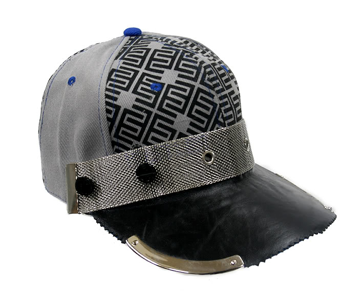 embroydered cotton print and leather baseball cap HI TEK