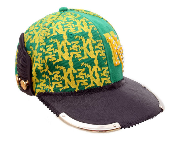 embroydered cotton print and leather baseball cap HI TEK