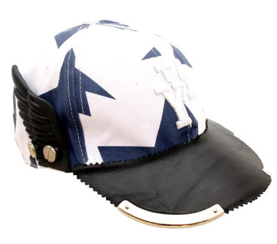 cotton print and leather baseball cap with black plastic wing HI TEK unusual